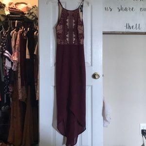 Maroon high low dress